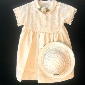 Vintage Small Treasures Cream Dress & Matching Hat